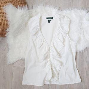 Ralph Lauren white ruffle sleeveless blouse